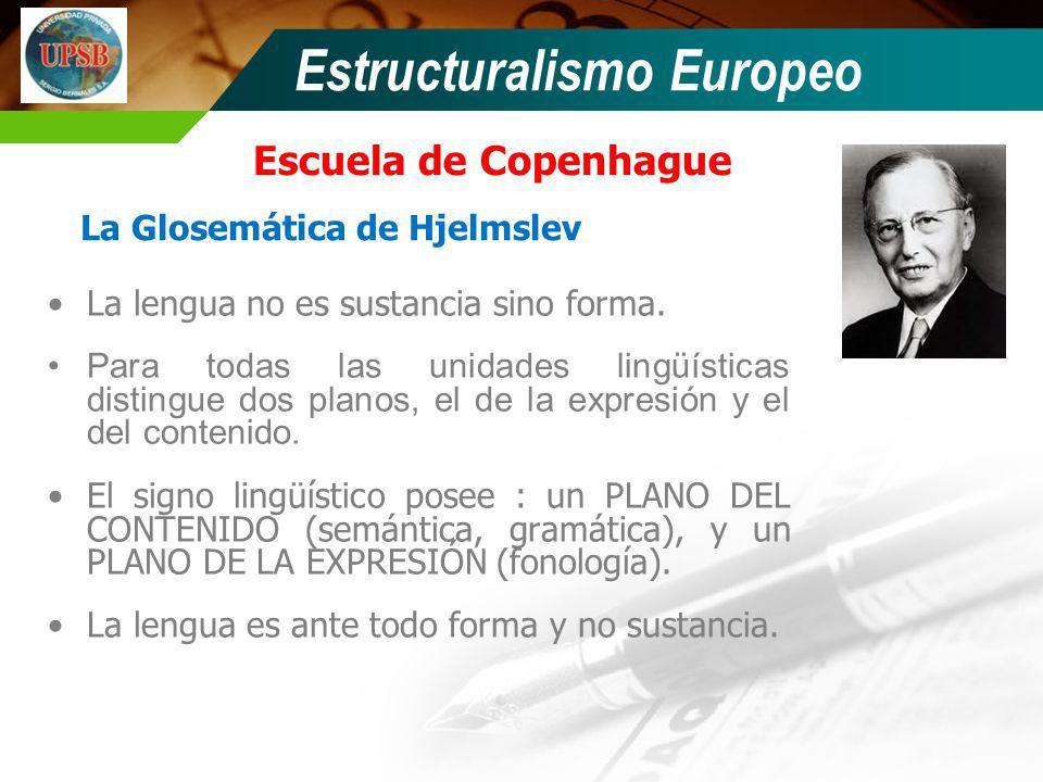 Escuela de Copenhague Estructuralismo Europeo La lengua no es sustancia sino forma. Para todas las unidades lingüísticas distingue dos planos, el de l