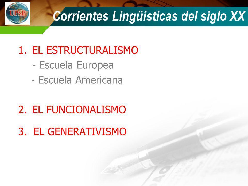 1.EL ESTRUCTURALISMO - Escuela Europea - Escuela Americana 2.EL FUNCIONALISMO 3. EL GENERATIVISMO Corrientes Lingüísticas del siglo XX