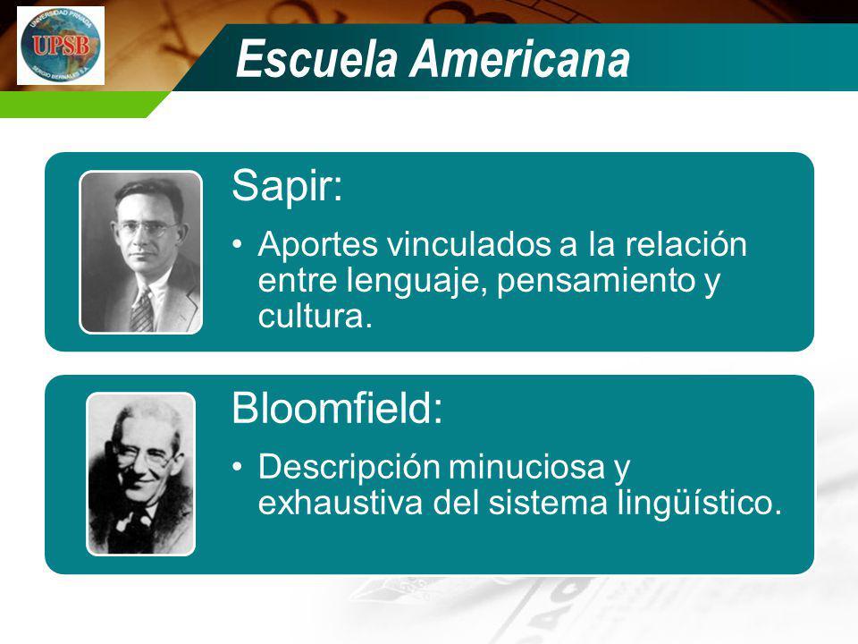 Escuela Americana Sapir: Aportes vinculados a la relación entre lenguaje, pensamiento y cultura. Bloomfield: Descripción minuciosa y exhaustiva del si