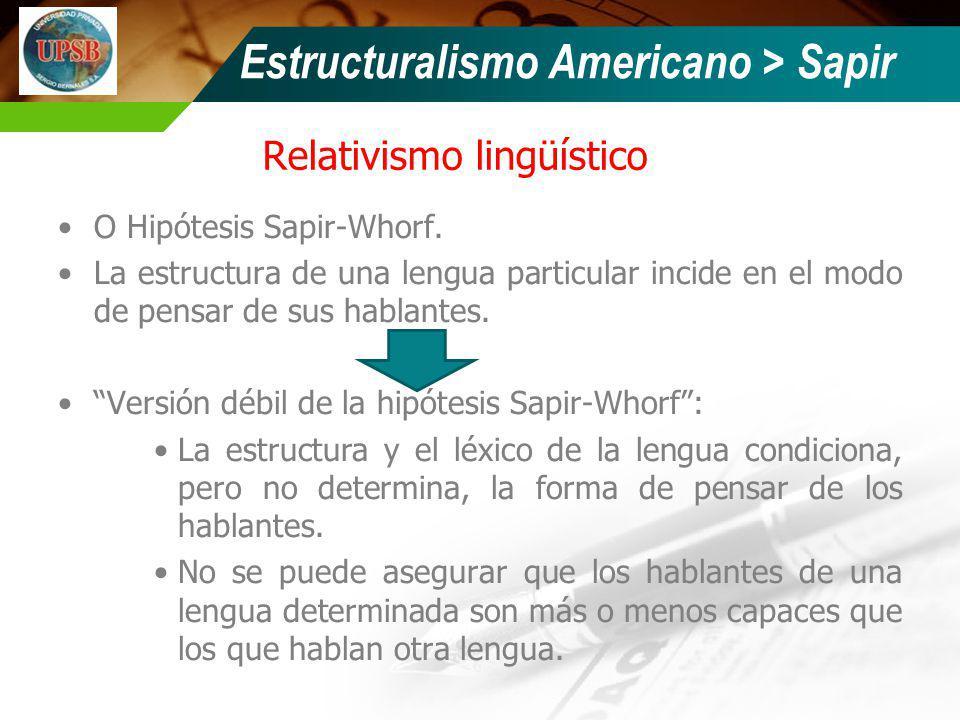 Relativismo lingüístico O Hipótesis Sapir-Whorf. La estructura de una lengua particular incide en el modo de pensar de sus hablantes. Versión débil de