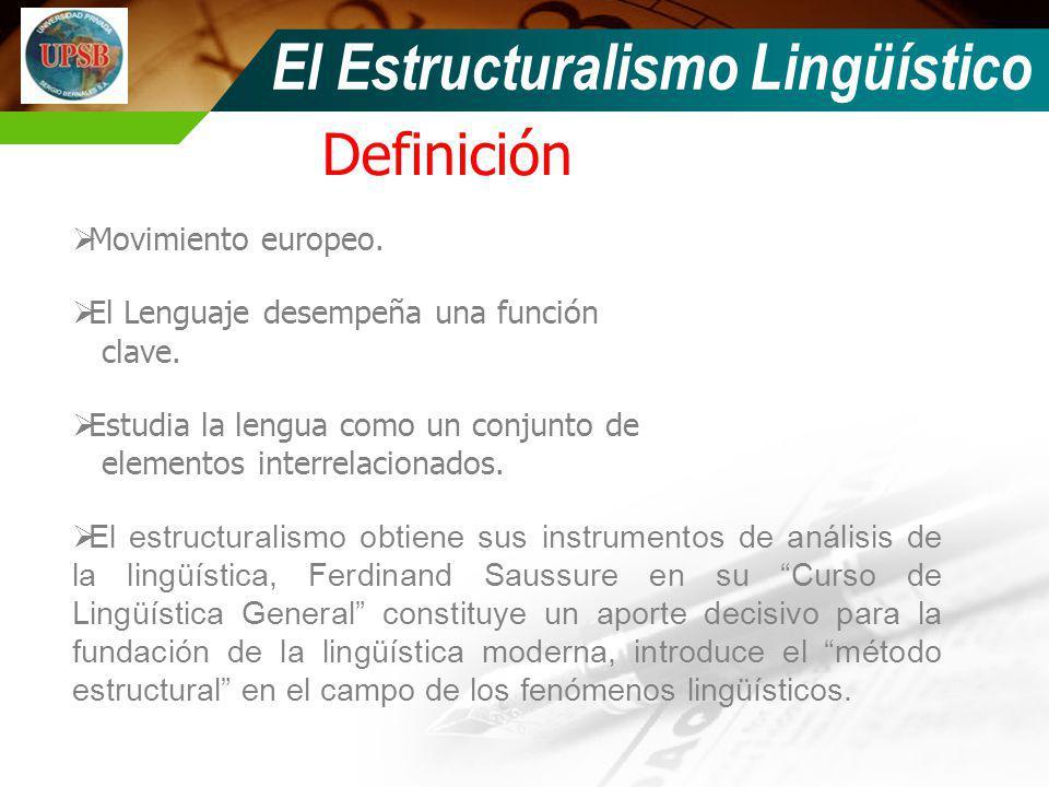 Definición El Estructuralismo Lingüístico Movimiento europeo. El Lenguaje desempeña una función clave. Estudia la lengua como un conjunto de elementos