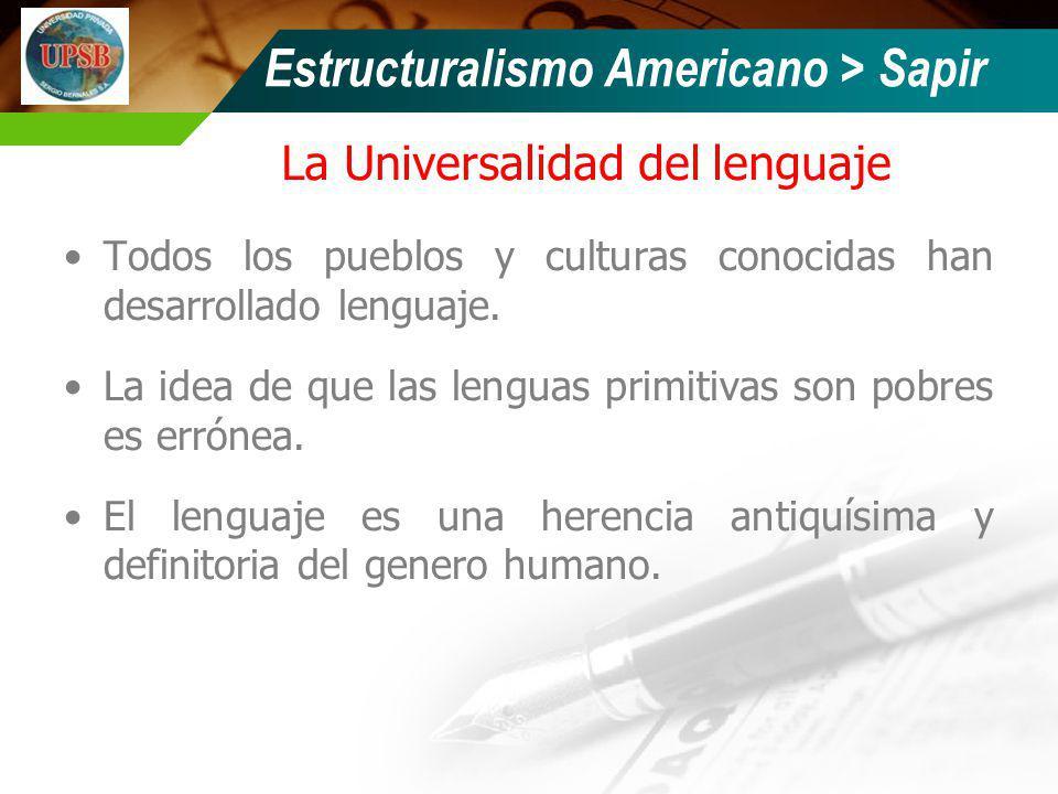 La Universalidad del lenguaje Todos los pueblos y culturas conocidas han desarrollado lenguaje. La idea de que las lenguas primitivas son pobres es er