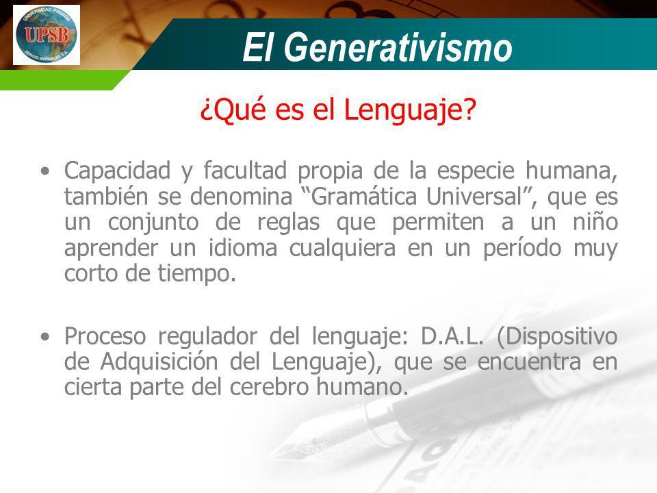 ¿Qué es el Lenguaje? Capacidad y facultad propia de la especie humana, también se denomina Gramática Universal, que es un conjunto de reglas que permi