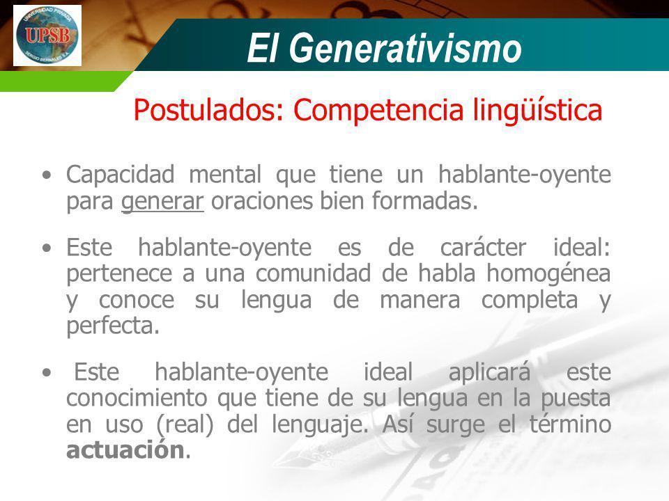 Postulados: Competencia lingüística Capacidad mental que tiene un hablante-oyente para generar oraciones bien formadas. Este hablante-oyente es de car