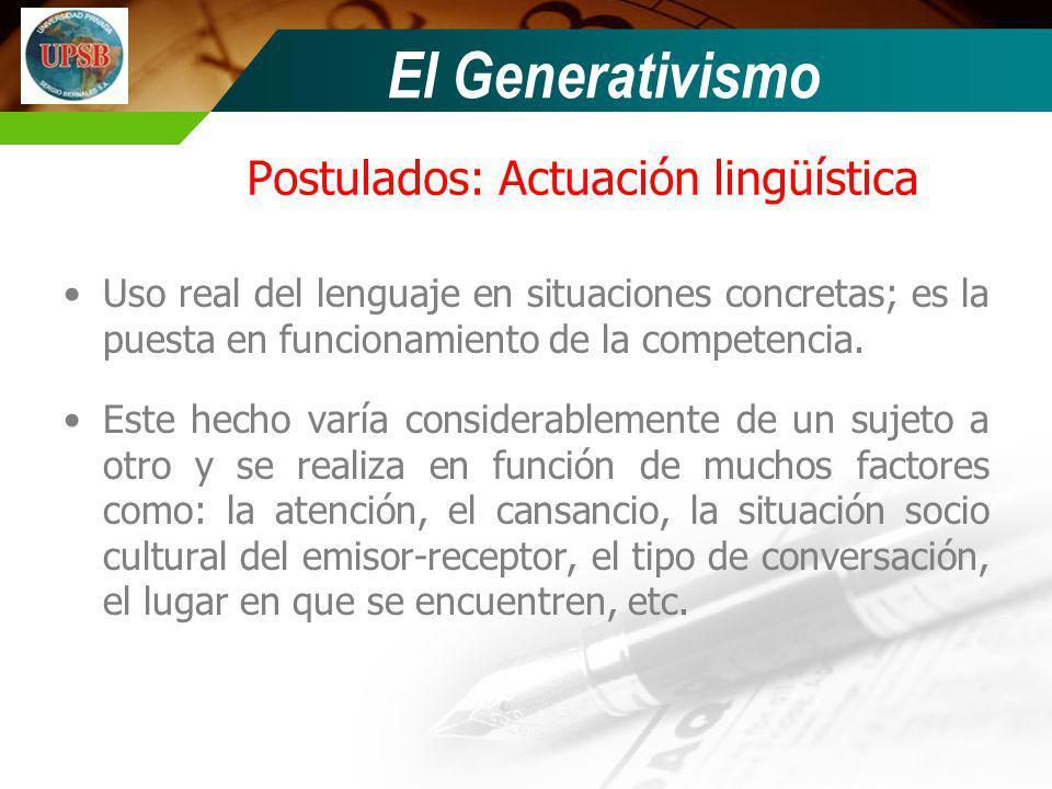 Postulados: Actuación lingüística Uso real del lenguaje en situaciones concretas; es la puesta en funcionamiento de la competencia. Este hecho varía c