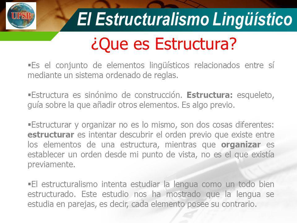 ¿Que es Estructura? El Estructuralismo Lingüístico Es el conjunto de elementos lingüísticos relacionados entre sí mediante un sistema ordenado de regl