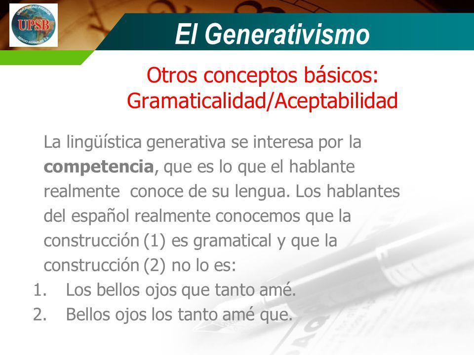Otros conceptos básicos: Gramaticalidad/Aceptabilidad La lingüística generativa se interesa por la competencia, que es lo que el hablante realmente co