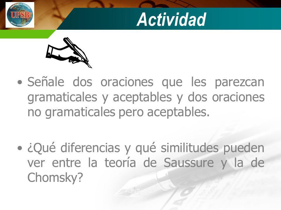 Actividad Señale dos oraciones que les parezcan gramaticales y aceptables y dos oraciones no gramaticales pero aceptables. ¿Qué diferencias y qué simi
