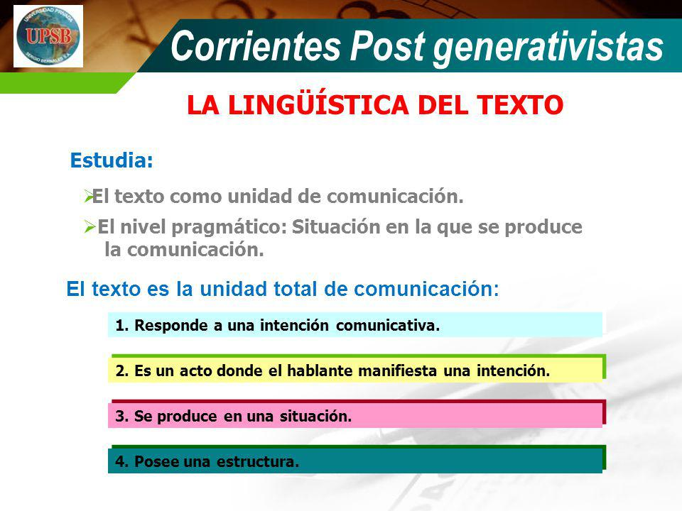 LA LINGÜÍSTICA DEL TEXTO El texto como unidad de comunicación. El texto es la unidad total de comunicación: 1. Responde a una intención comunicativa.