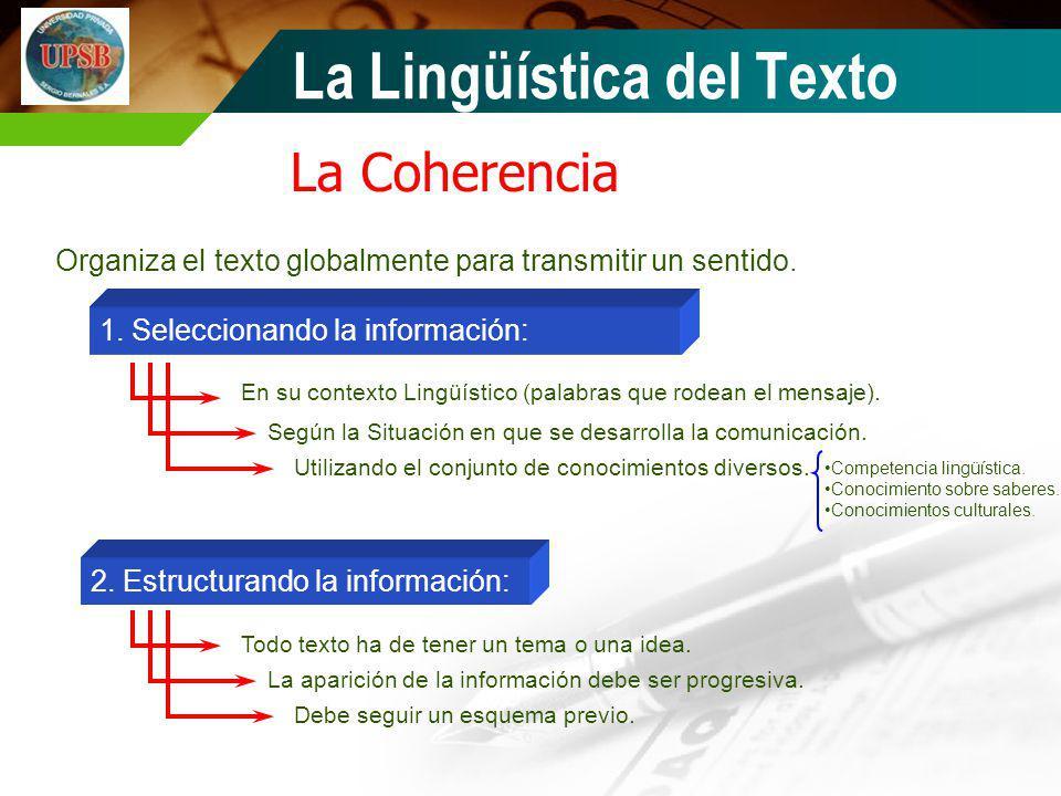 La Coherencia Organiza el texto globalmente para transmitir un sentido. 1. Seleccionando la información: 2. Estructurando la información: En su contex