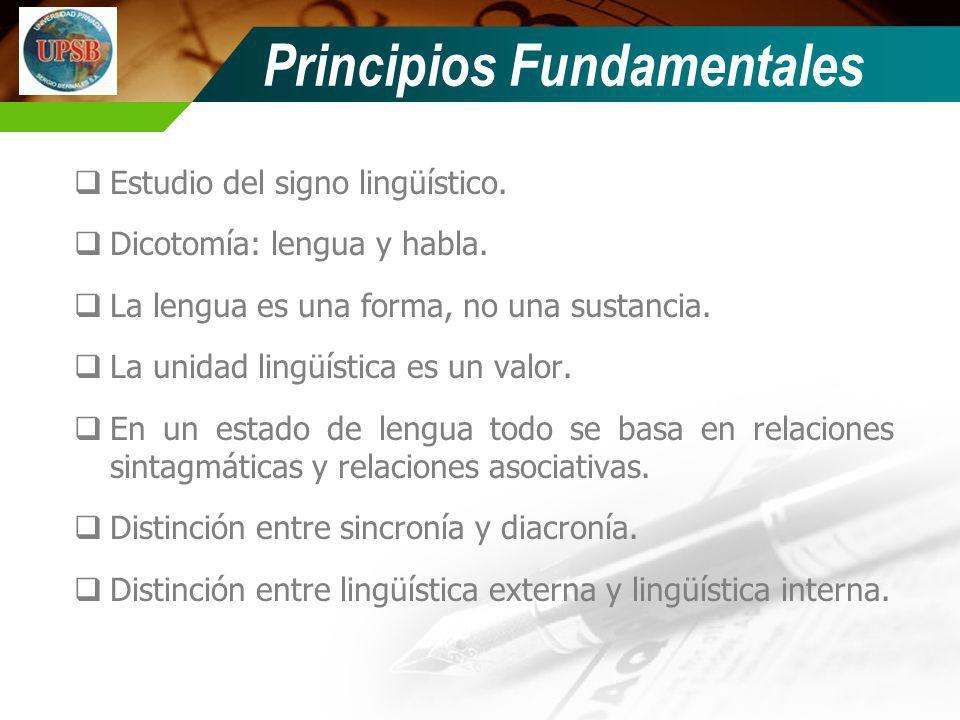 Principios Fundamentales Estudio del signo lingüístico. Dicotomía: lengua y habla. La lengua es una forma, no una sustancia. La unidad lingüística es