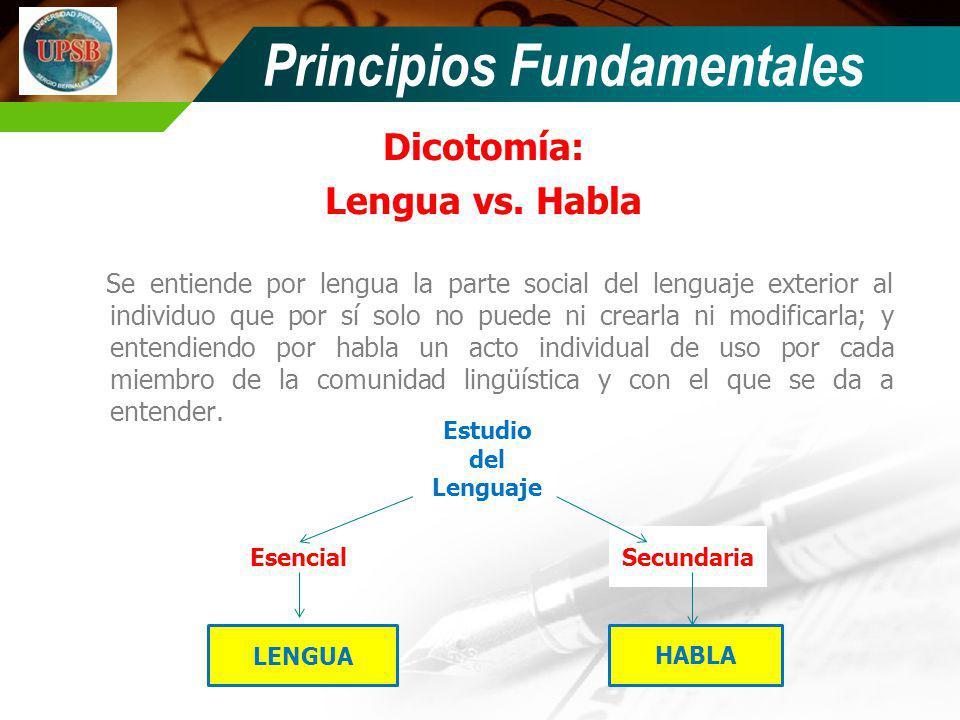 Dicotomía: Lengua vs. Habla Se entiende por lengua la parte social del lenguaje exterior al individuo que por sí solo no puede ni crearla ni modificar