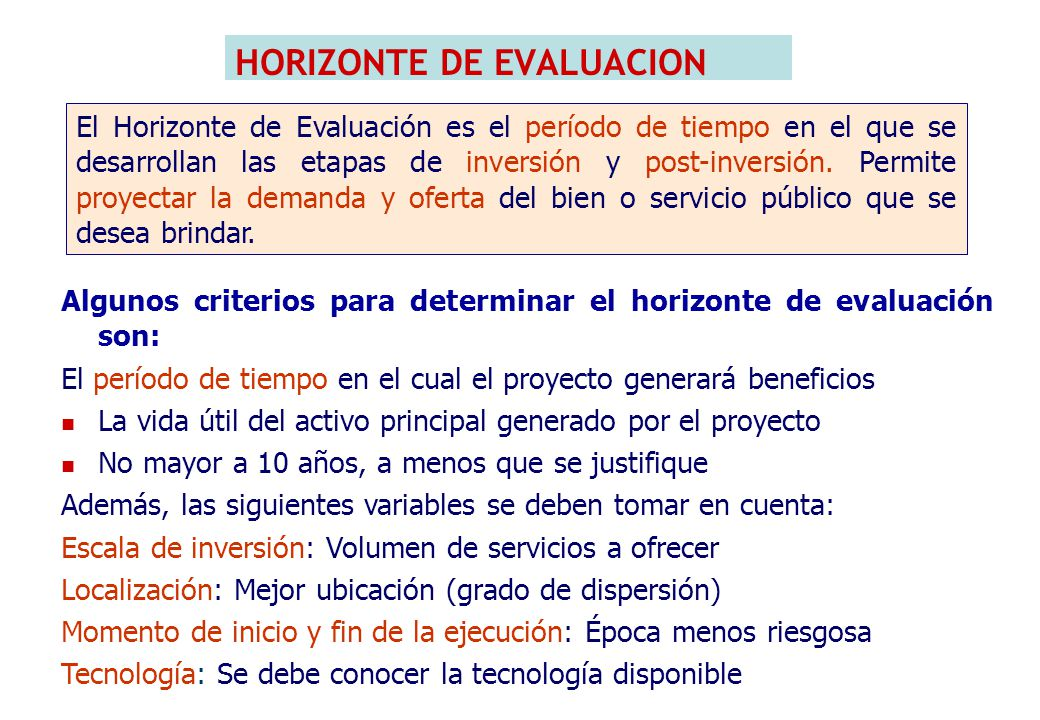 HORIZONTE DEL PROYECTO DEL EJEMPLO: Plazo de ejecución: 01 año.