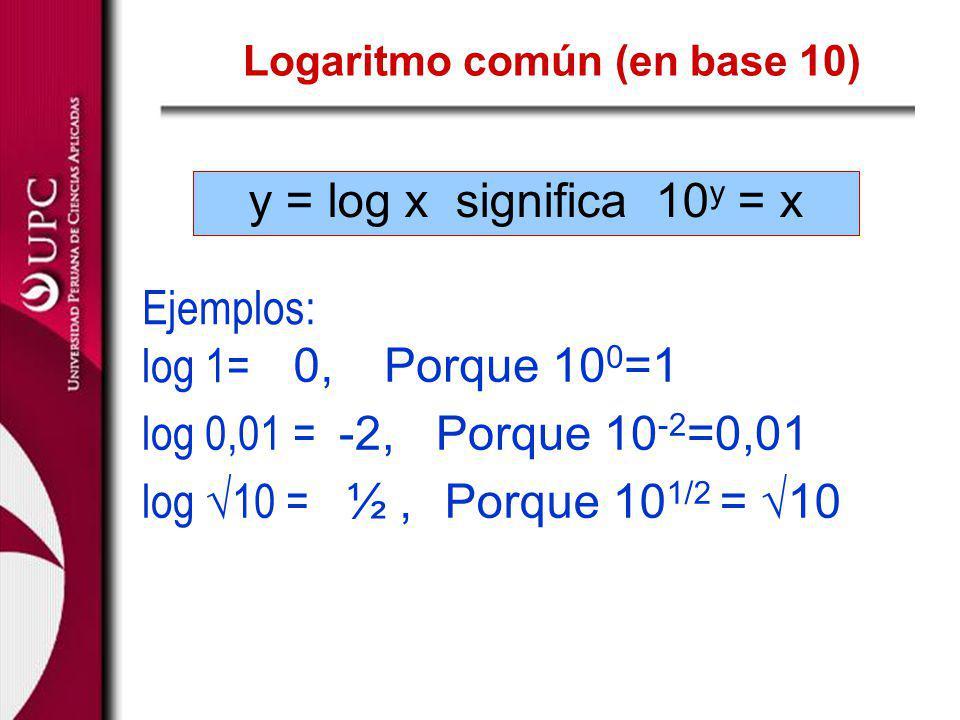 y = log x significa 10 y = x Logaritmo común (en base 10) Ejemplos: log 1= log 0,01 = log 10 = 0,Porque 10 0 =1 -2,Porque 10 -2 =0,01 ½, Porque 10 1/2