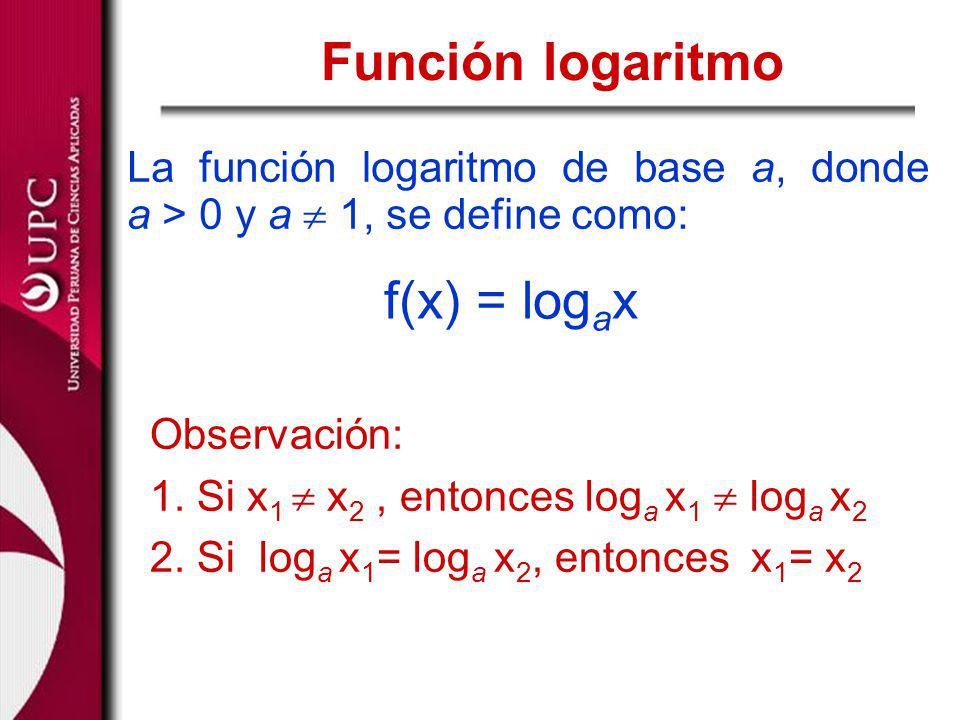 La función logaritmo de base a, donde a > 0 y a 1, se define como: Función logaritmo f(x) = log a x Observación: 1. Si x 1 x 2, entonces log a x 1 log