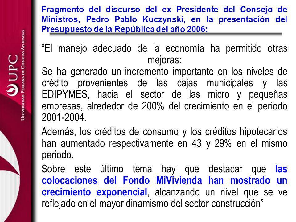 Fragmento del discurso del ex Presidente del Consejo de Ministros, Pedro Pablo Kuczynski, en la presentación del Presupuesto de la República del año 2