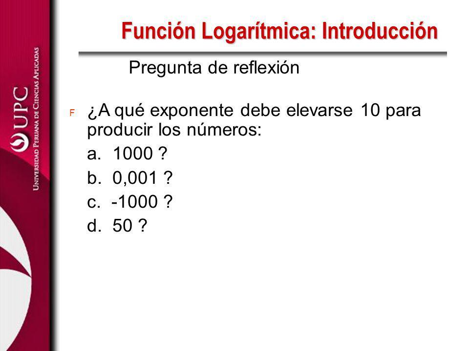 F ¿A qué exponente debe elevarse 10 para producir los números: a. 1000 ? b. 0,001 ? c. -1000 ? d. 50 ? Pregunta de reflexión Función Logarítmica: Intr