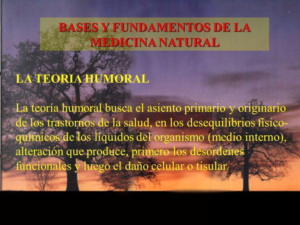 LA TEORIA HUMORAL La teoría humoral busca el asiento primario y originario de los trastornos de la salud, en los desequilibrios físico- químicos de lo