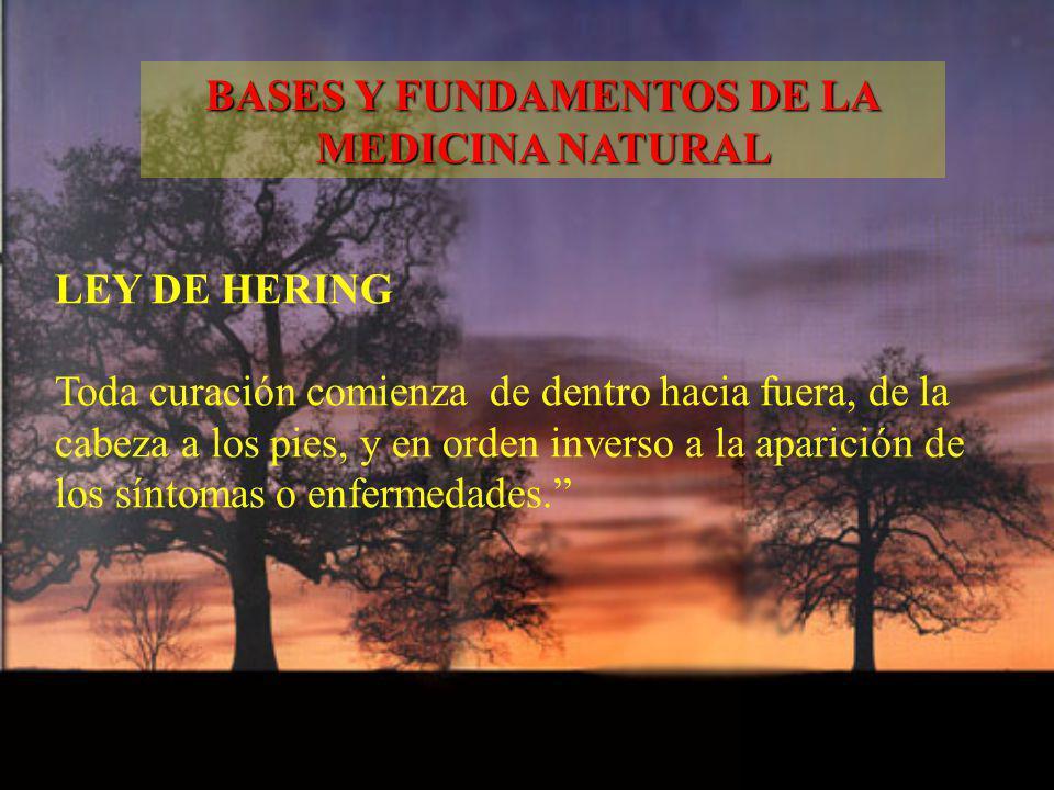LEY DE HERING Toda curación comienza de dentro hacia fuera, de la cabeza a los pies, y en orden inverso a la aparición de los síntomas o enfermedades.