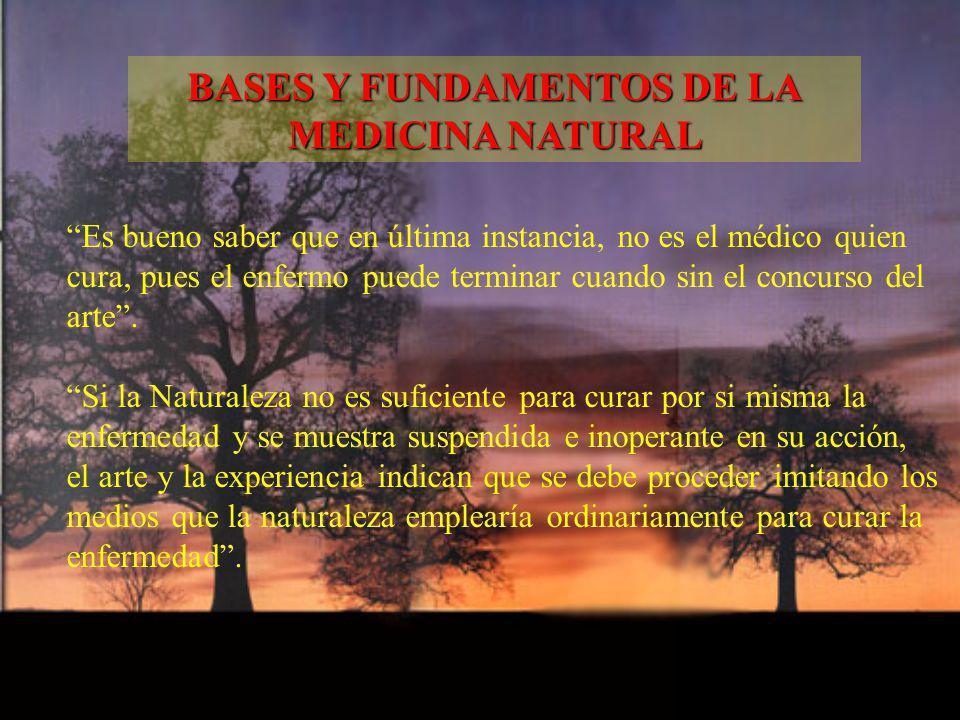 Es bueno saber que en última instancia, no es el médico quien cura, pues el enfermo puede terminar cuando sin el concurso del arte. Si la Naturaleza n