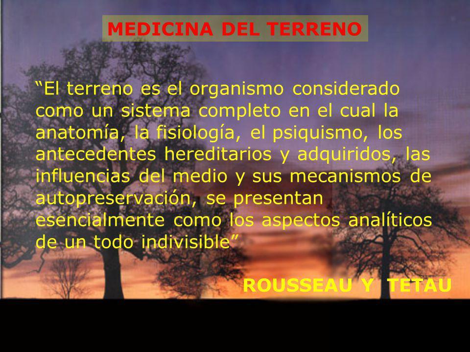 MEDICINA DEL TERRENO El terreno es el organismo considerado como un sistema completo en el cual la anatomía, la fisiología, el psiquismo, los antecede