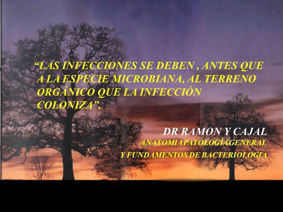 LAS INFECCIONES SE DEBEN, ANTES QUE A LA ESPECIE MICROBIANA, AL TERRENO ORGÁNICO QUE LA INFECCIÓN COLONIZA. DR RAMON Y CAJAL ANATOMIA PATOLOGÍA GENERA