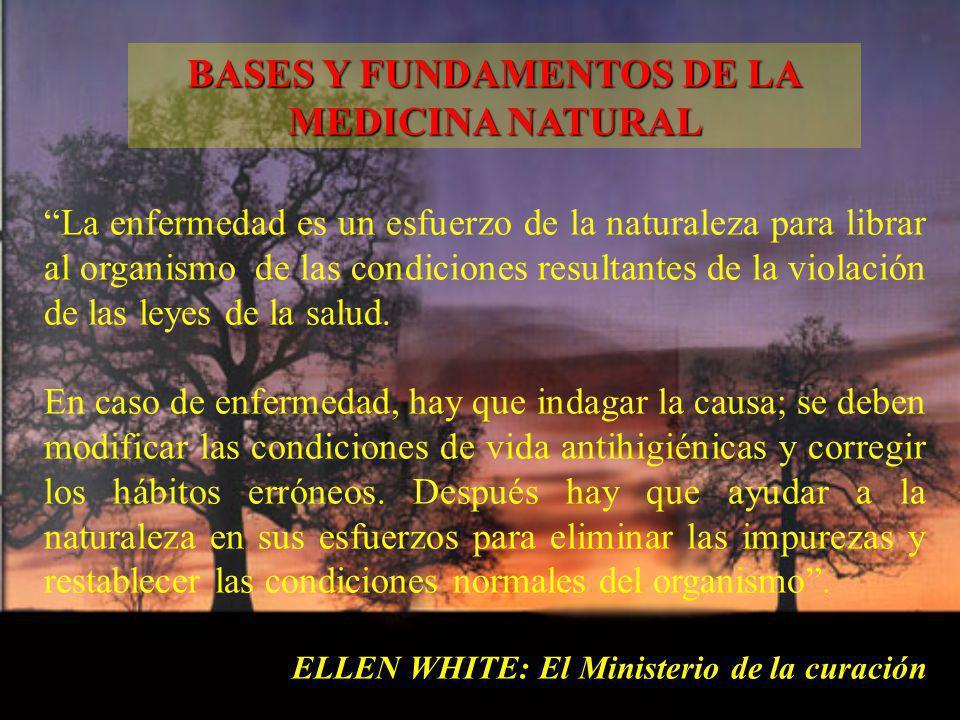 La enfermedad es un esfuerzo de la naturaleza para librar al organismo de las condiciones resultantes de la violación de las leyes de la salud. En cas