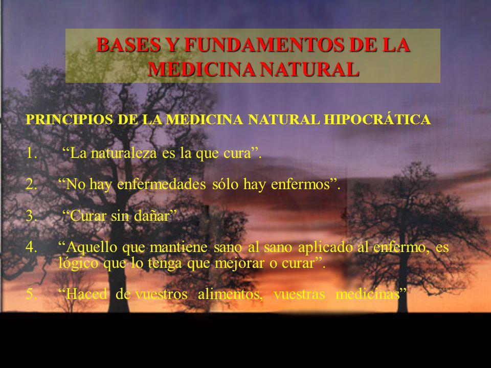 PRINCIPIOS DE LA MEDICINA NATURAL HIPOCRÁTICA 1. 1. La naturaleza es la que cura. 2. 2. No hay enfermedades sólo hay enfermos. 3. 3. Curar sin dañar 4