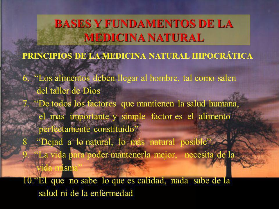 PRINCIPIOS DE LA MEDICINA NATURAL HIPOCRÁTICA 6. Los alimentos deben llegar al hombre, tal como salen del taller de Dios 7. De todos los factores que