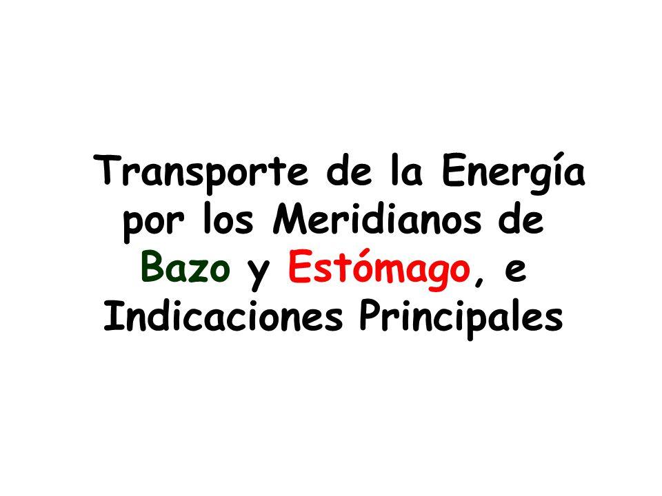 Transporte de la Energía por los Meridianos de Bazo y Estómago, e Indicaciones Principales