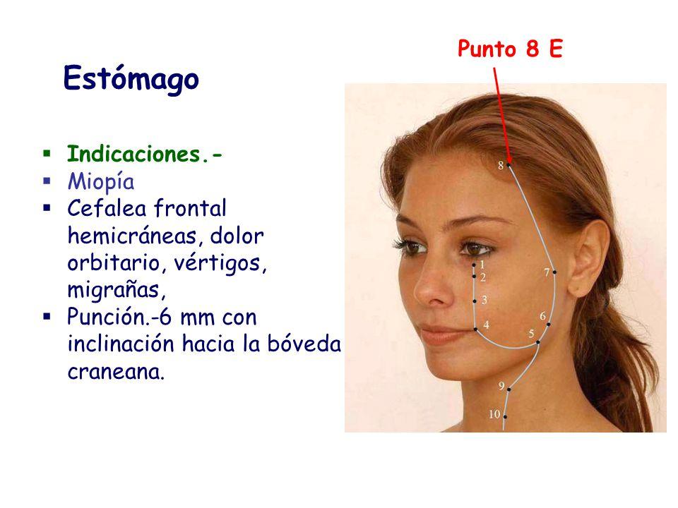 Indicaciones.- Miopía Cefalea frontal hemicráneas, dolor orbitario, vértigos, migrañas, Punción.-6 mm con inclinación hacia la bóveda craneana. Punto