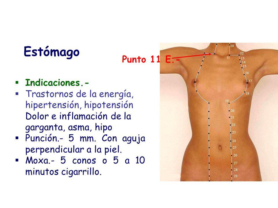 Indicaciones.- Trastornos de la energía, hipertensión, hipotensión Dolor e inflamación de la garganta, asma, hipo Punción.- 5 mm. Con aguja perpendicu