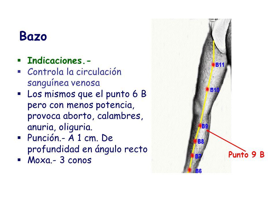 Indicaciones.- Controla la circulación sanguínea venosa Los mismos que el punto 6 B pero con menos potencia, provoca aborto, calambres, anuria, oligur