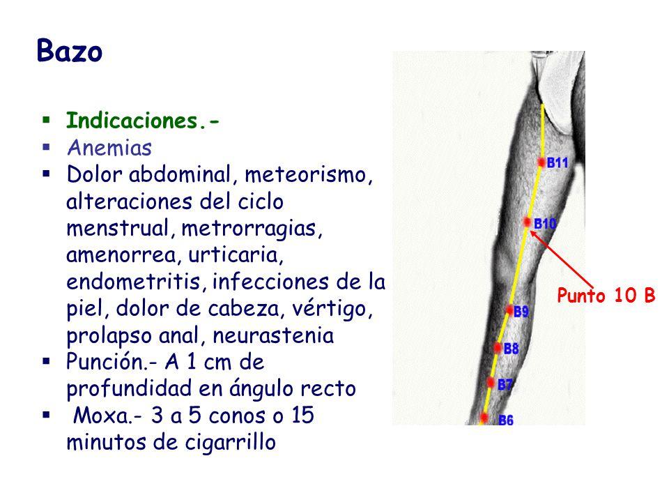 Indicaciones.- Anemias Dolor abdominal, meteorismo, alteraciones del ciclo menstrual, metrorragias, amenorrea, urticaria, endometritis, infecciones de