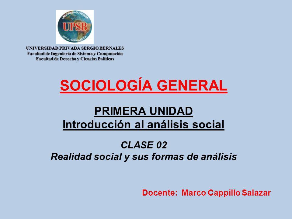 SOCIOLOGÍA GENERAL PRIMERA UNIDAD Introducción al análisis social CLASE 02 Realidad social y sus formas de análisis Docente: Marco Cappillo Salazar UN