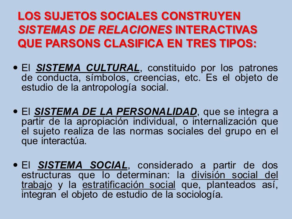LOS SUJETOS SOCIALES CONSTRUYEN SISTEMAS DE RELACIONES INTERACTIVAS QUE PARSONS CLASIFICA EN TRES TIPOS: El SISTEMA CULTURAL, constituido por los patr