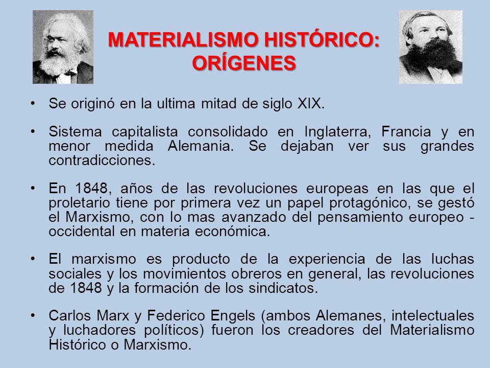 MATERIALISMO HISTÓRICO: ORÍGENES Se originó en la ultima mitad de siglo XIX. Sistema capitalista consolidado en Inglaterra, Francia y en menor medida