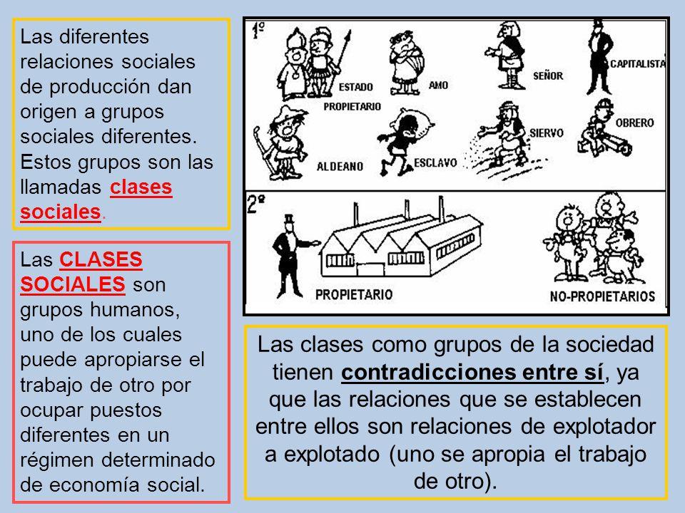Las diferentes relaciones sociales de producción dan origen a grupos sociales diferentes. Estos grupos son las llamadas clases sociales. Las CLASES SO
