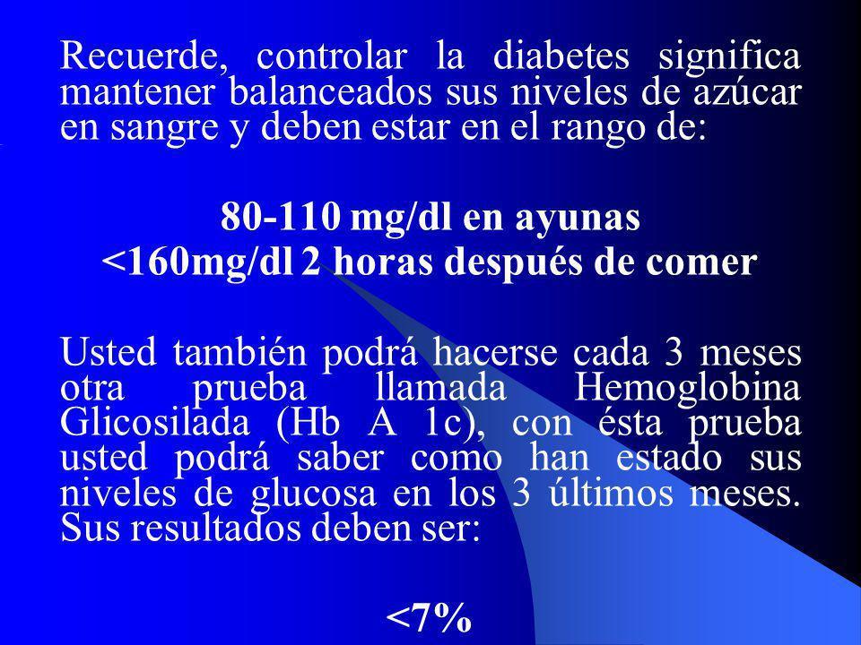Recuerde, controlar la diabetes significa mantener balanceados sus niveles de azúcar en sangre y deben estar en el rango de: 80-110 mg/dl en ayunas <1