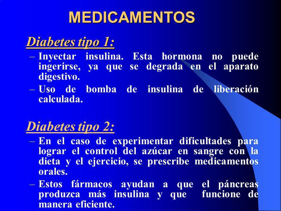 MEDICAMENTOS Diabetes tipo 1: –Inyectar insulina. Esta hormona no puede ingerirse, ya que se degrada en el aparato digestivo. –Uso de bomba de insulin