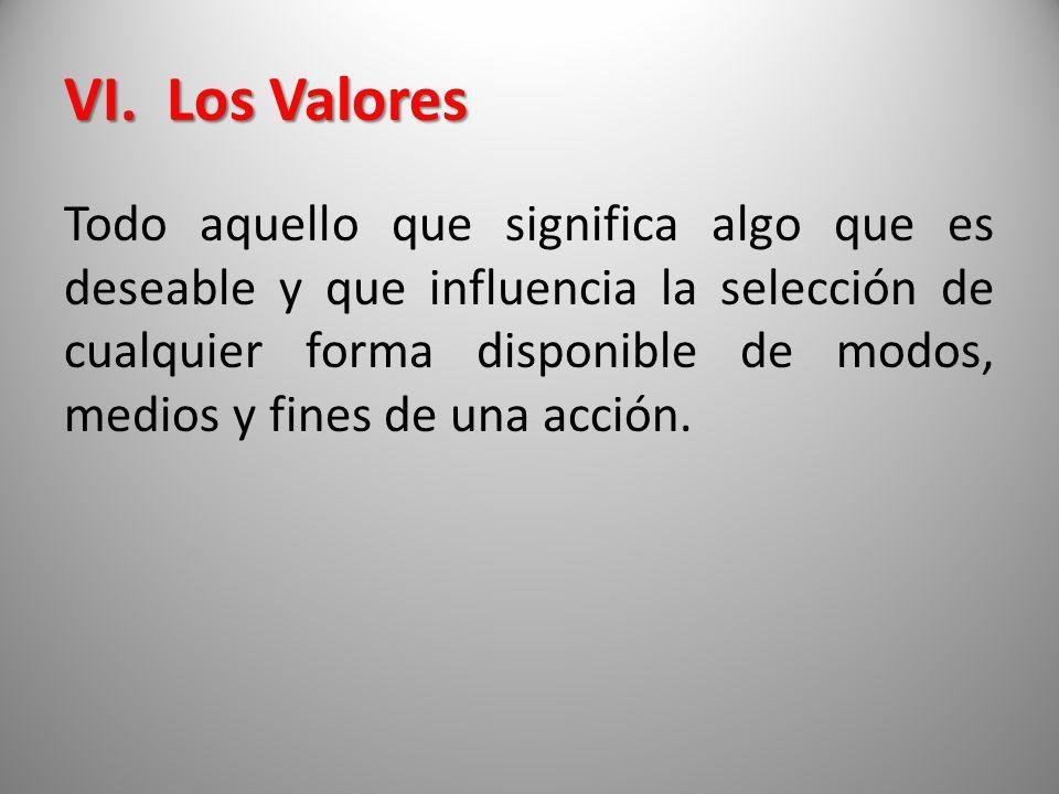 VI. Los Valores Todo aquello que significa algo que es deseable y que influencia la selección de cualquier forma disponible de modos, medios y fines d
