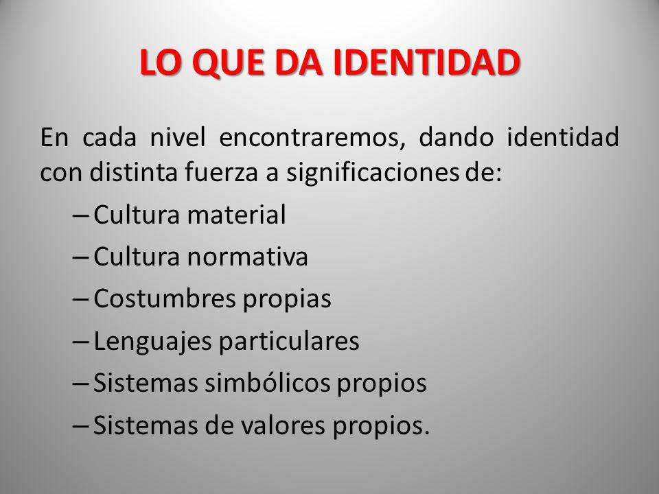 LO QUE DA IDENTIDAD En cada nivel encontraremos, dando identidad con distinta fuerza a significaciones de: – Cultura material – Cultura normativa – Co