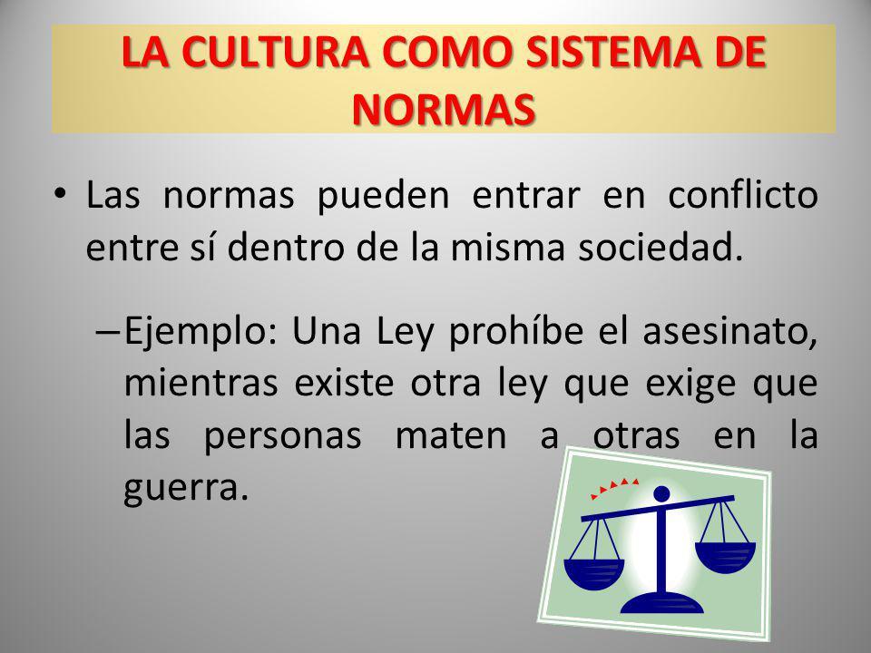 Las normas pueden entrar en conflicto entre sí dentro de la misma sociedad. – Ejemplo: Una Ley prohíbe el asesinato, mientras existe otra ley que exig