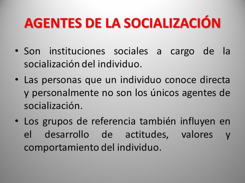 AGENTES DE LA SOCIALIZACIÓN Son instituciones sociales a cargo de la socialización del individuo. Las personas que un individuo conoce directa y perso