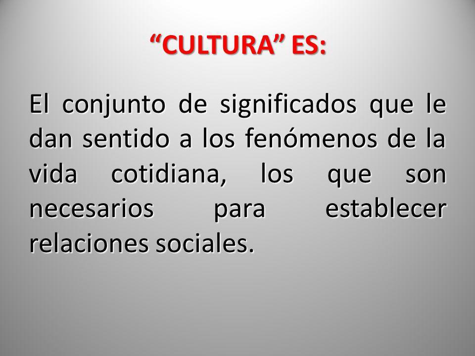 CULTURA ES: El conjunto de significados que le dan sentido a los fenómenos de la vida cotidiana, los que son necesarios para establecer relaciones soc
