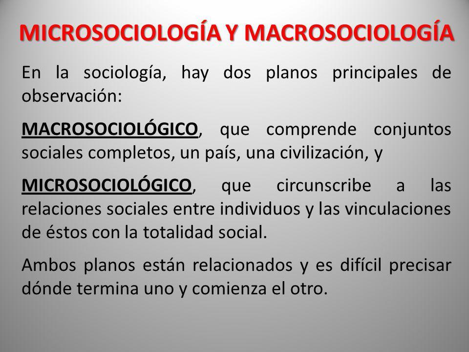 MICROSOCIOLOGÍA Y MACROSOCIOLOGÍA En la sociología, hay dos planos principales de observación: MACROSOCIOLÓGICO, que comprende conjuntos sociales comp