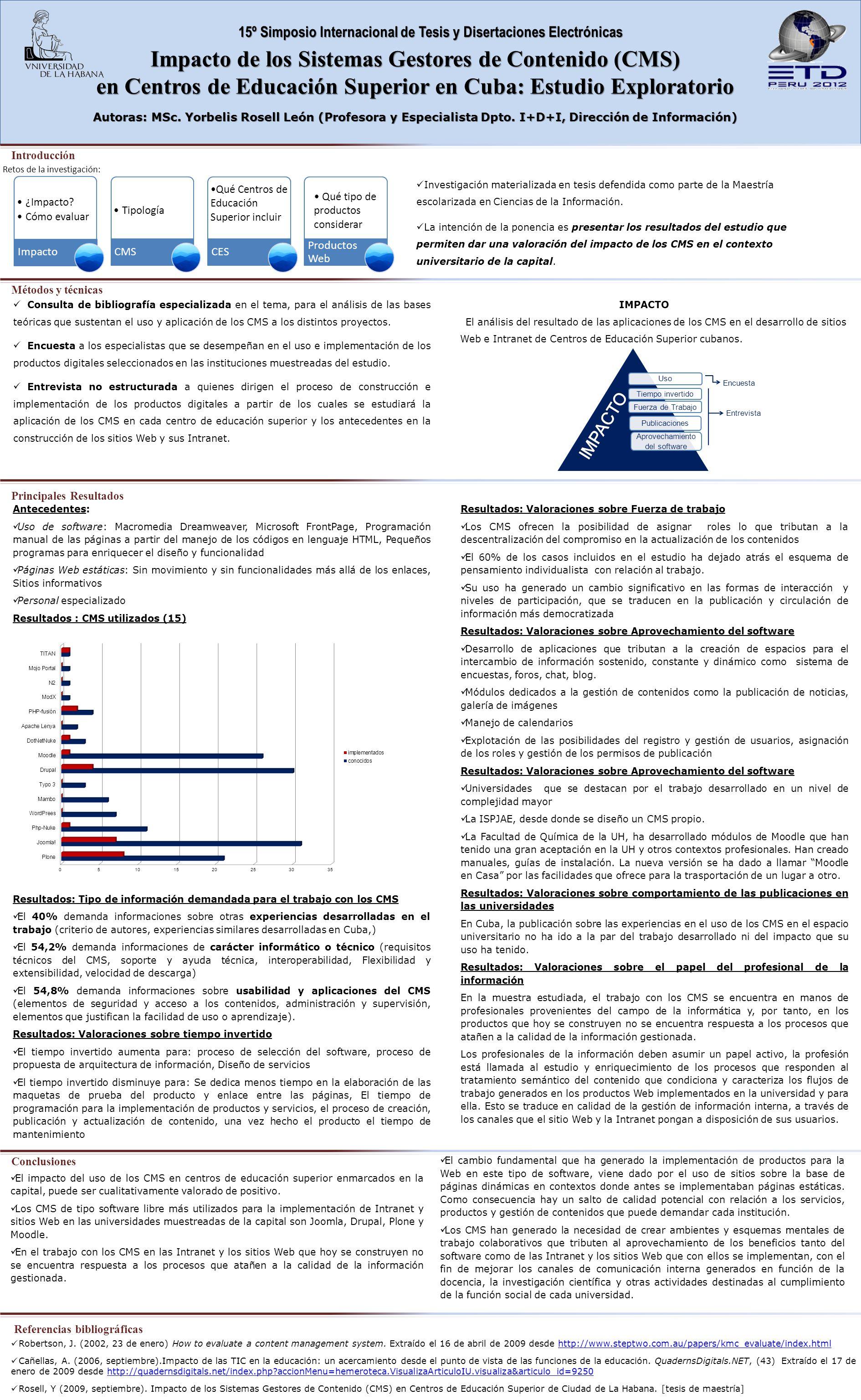 15º Simposio Internacional de Tesis y Disertaciones Electrónicas Impacto de los Sistemas Gestores de Contenido (CMS) en Centros de Educación Superior en Cuba: Estudio Exploratorio Autoras: MSc.