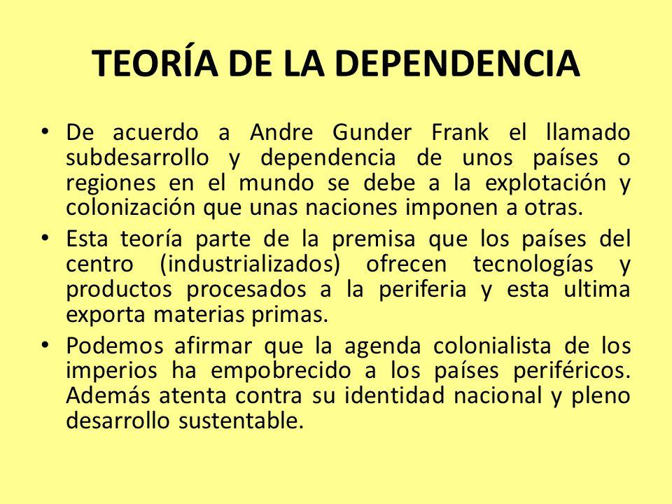 TEORÍA DE LA DEPENDENCIA De acuerdo a Andre Gunder Frank el llamado subdesarrollo y dependencia de unos países o regiones en el mundo se debe a la explotación y colonización que unas naciones imponen a otras.