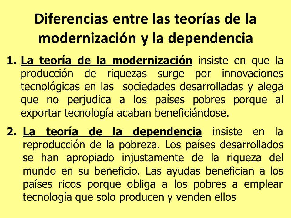 Diferencias entre las teorías de la modernización y la dependencia 1.La teoría de la modernización insiste en que la producción de riquezas surge por innovaciones tecnológicas en las sociedades desarrolladas y alega que no perjudica a los países pobres porque al exportar tecnología acaban beneficiándose.