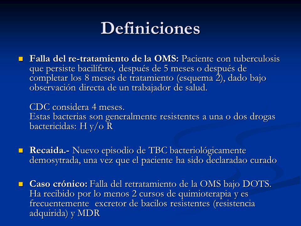 Definiciones Falla del re-tratamiento de la OMS: Paciente con tuberculosis que persiste bacilífero, después de 5 meses o después de completar los 8 meses de tratamiento (esquema 2), dado bajo observación directa de un trabajador de salud.